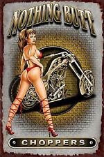Vintage Pin-Up Plaque Publicitaire rétro Moto Choppers 2 30 cm X 20 cm