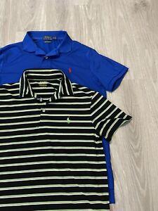 Lot 2 Ralph Lauren Men's M Classic Fit Performance Golf POLO Shirt BLUE STRIPES