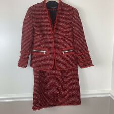ann taylor Womens Tweed Dress And Jacket Red Black Sz 0 Lined Holiday Career