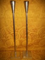 """Set of 2 Vintage 25"""" Taper Candle Holders W/Floor Bases, Made in India"""