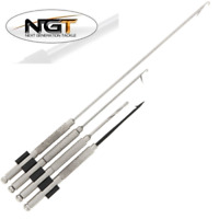 NGT 4 PC CARP FISHING STAINLESS STEEL BAITING NEEDLES SET, HOOK, DRILL TOOLS
