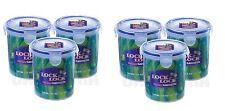 6 x LOCK & LOCK ROUND PLASTIC FOOD STORAGE LIQUID CONTAINER 700ML HPL932D
