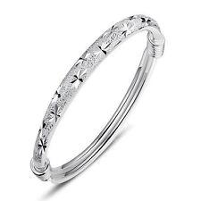 925 Sterling Silver Plated Bangle Korean Women Jewelry Adjustable Charm Bracelet
