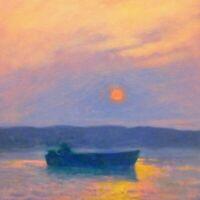Boat Marine Nautical Fishing Coast Impressionism Art Oil Painting Landscape Sun
