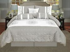 Luxurious 7pcs Embroided Royal Super King Comforter Set Silver