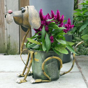 38cm Dog Planter Pot Ornament Garden Home Metal Décor animal Flower novelty NEW