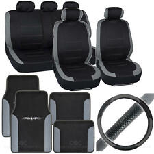 Full Interior Set Car Seat Cover, Mat & Steering Wheel Cover - Gray / Black