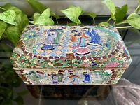 Vintage Chinese Hand Painted Enamel Porcelain Box Marked 8 X 4 Flowers Figures