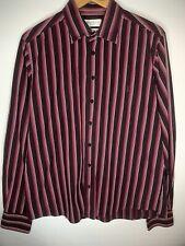 Yves Saint Laurent YSL Pour Homme  100% Cotton Shirt Purple Stripe Size L (F2)