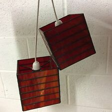 A Retro 1950/60,s Red / Orange Glass light lamp Shades x 2