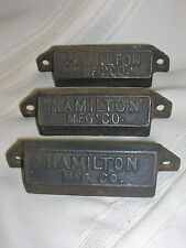3 Vtg Matching Hamilton Cast Iron Draw Pulls Letter Press w/Screws Hamilton Mfg