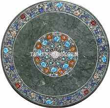 """24"""" Granite Marble Coffee Side Table Top Marquetry Inlay Restaurant Mosaic Art"""