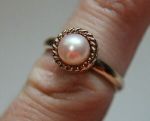 Italy 925 Sterling Silver Freshwater Pearl Ring Sz 6