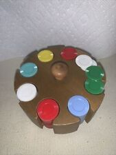 Vintage Wooden Poker Chip Caddy with Chips