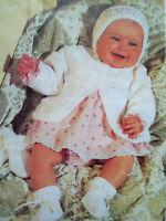 Baby Girls MATINEE COAT CARDIGAN Bonnet KNITTING PATTERN DK 16 - 20 in 0 - 12 m
