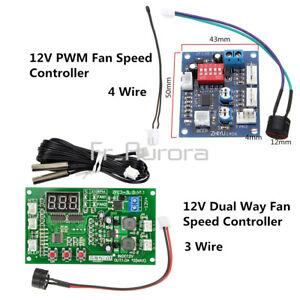 12V Dual Ways / PWM PC CPU Fan Digital Temperature Control Speed Controller