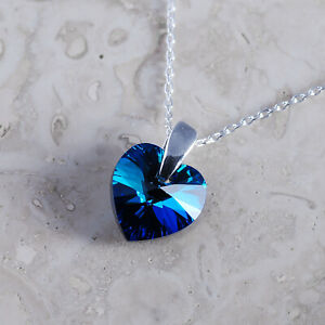925 Sterling Silver Necklace Heart Bermuda Blue 10 mm Crystals from Swarovski®