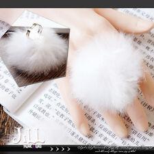 lolita princess diary white rabbit bunny tail fuzz ball cocktail ring【J1U5023】