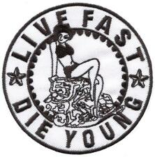 Live Fast Die Young biker punk rock n roll applique iron-on patch S-1423