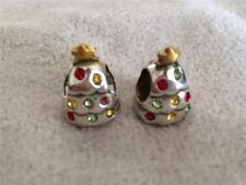 Brighton Christmas Tree 2 Charm spacers Swarovski Crystal Gold Bow New