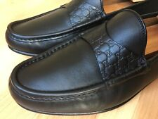 46a7557ab GUCCI Guccisima Strap GG Black Leather Driver Loafers #268368 Sz UK 8.5 (US  9