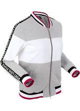 Damen Sweat Shirt Jacke grau meliert weiß Sport Zip Hoody S M L XL 278 neu
