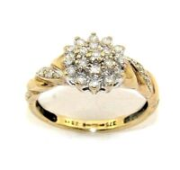 Ladies/womens 9ct yellow gold ring set with a cluster of diamonds, UK size O