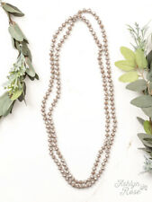 "NEW IREDESCENT TAUPE 60"" DOUBLE BEADED NECKLACE"
