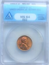 1956-D 1c Lincoln Wexler WDMM-001 ANACS MS-64 Red