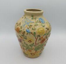 Vintage Robinson Ransbottom Pottery Floral Vase Hand Painted Roseville OH Signed