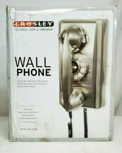 Crosley ROTARY Style CHROME Push Button WALL PHONE Novelty CR55 Land Line NEW