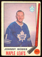 1969 70 OPC O PEE CHEE #187 JOHNNY BOWER VG TORONTO MAPLE LEAFS HOCKEY CARD