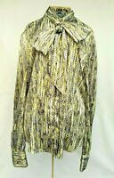 Hawes Curtis 14 Yellow Green Blouse Geometric Long Sleeve Pussy Bow Button Front
