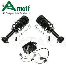 Set of 2 Front Shock Absorbers & Air Compressor Arnott For Cadillac GMC Chevy