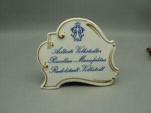 88SS Porzellanaufsteller Älteste VOLKSTEDT 1762 Gold TOP Werbeaufsteller Schild