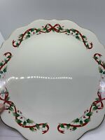 "ROYAL LIMITED HOLLY HOLIDAY ROUND CHOP PLATTER 12"" SERVING PLATE CHRISTMAS JAPAN"