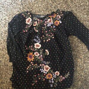 One September Anthropologie Women's Embroidered Top Shirt Bohemian Medium