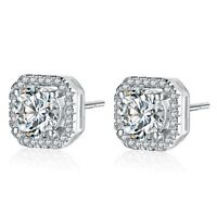 Sterling Silver Pave Cubic Zirconia 8mm Square Pink Stud Earrings Gift Christmas
