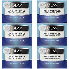 6 Olay AntiWrinkle Instant Hydration Moisturiser Day Cream Reduce Puffiness 50ml