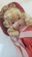 VINTAGE NANCY ANN STORYBOOK BISQUE DOLL  RED DRESS BLONDE HAIR