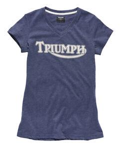 Triumph Ladies Vintage Logo T-Shirt - Blue - # Genuine Triumph Clothing