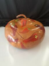 Gourd Bowl With Lid Hand Painted Peppers ~Mexico~ Large Bowl ~Unique~ Must See!