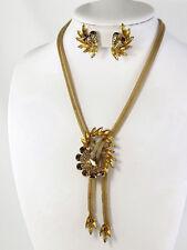 Vintage HOBE Topaz Rhinestones & Goldtone Mesh Necklace & Clip Earrings Set