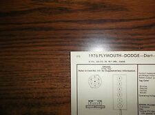 1976 Dodge & Plymouth Series Models 225 CI L6 SUN Tune Up Chart Great Condition!