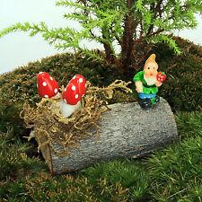 Woodland Log with Gnome & Mushrooms ~ Fairy Garden Miniature ~ Handmade