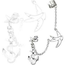 Surgical Steel Star Stud Chain Earring with Swallow and Anchor Dangle and Clip