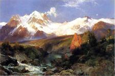 Oil art Thomas Moran The Teton Range with mountains landscape and running creek