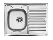 1 Becken Bad & Küche Spülen aus Edelstahl mit Abtropffläche | eBay | {Spülbecken edelstahl 49}