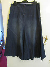Dark Blue A Line Stretch Denim Maxi Skirt by Per Una in Size 12 L