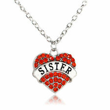 SISTER SILVER NECKLACE WITH SHINY STUDDED RED CRYSTAL HEART PENDANT #KC40